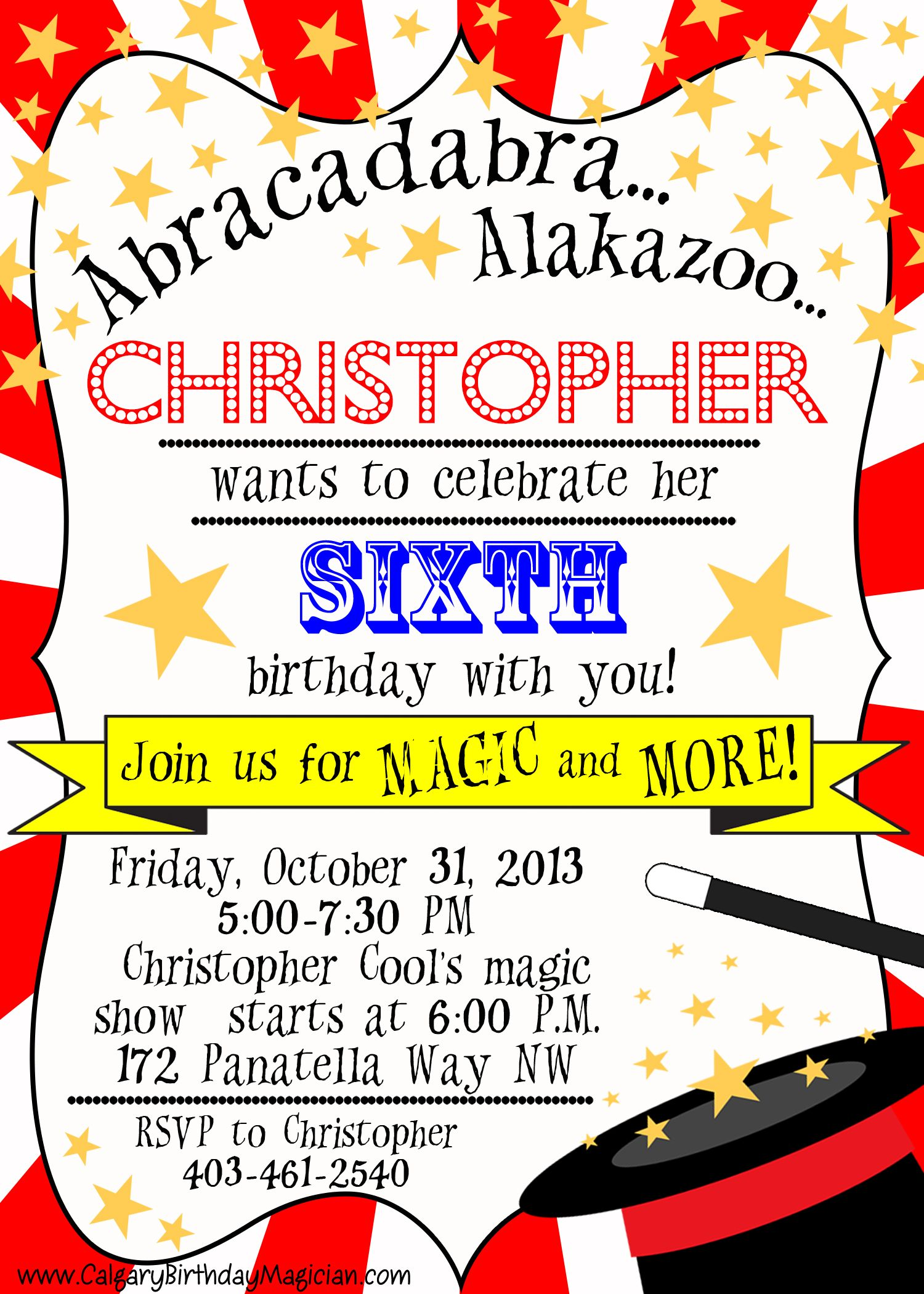 Get this FREE printable Magic Party Invite when you book Christopher ...