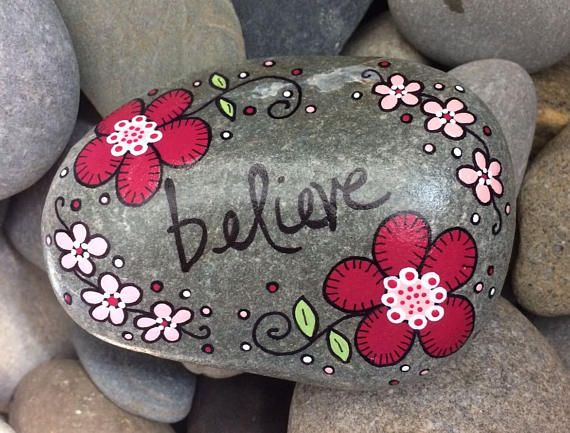 Happy Rock - believe - Hand-Painted Beach River Rock Stone - pink cranberry rose flowers