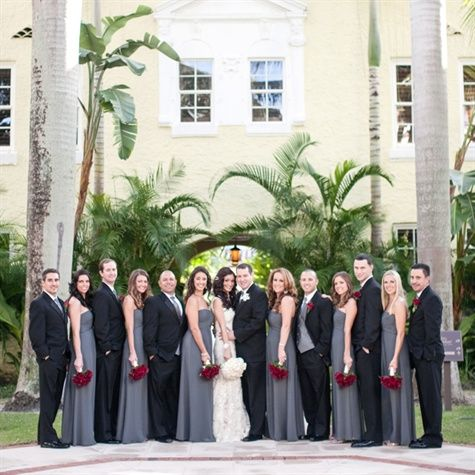 Black bridesmaids, grey tops for guys, and red and coral colored ...