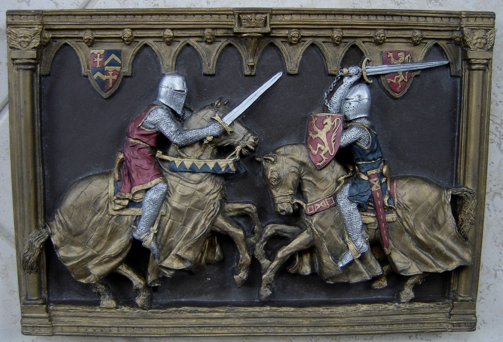 marcus replica hanging medieval knights horse jousting wall plaque d cor england knight and. Black Bedroom Furniture Sets. Home Design Ideas
