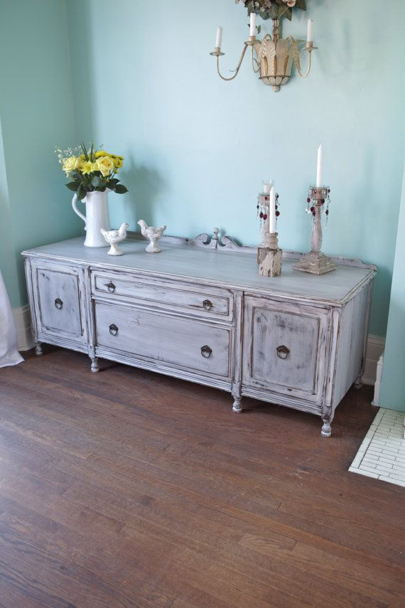 Beautiful Antique Gray Shabby Chic Tv Stand Cabinet Distressed Cottage Prairie RARE