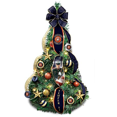 marine corps pre lit fully decorated pull up christmas tree - Fully Decorated Tabletop Christmas Tree