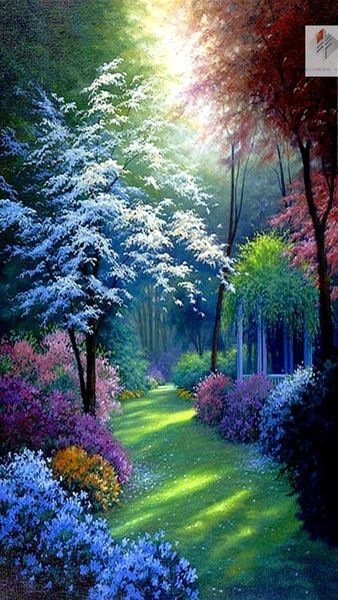 Diy Diamond Painting Cross Stitch Tropical Forest Scenery 3d 100%full Square Diamond Rhinestones Pasted Home Decoration Painting #scenery