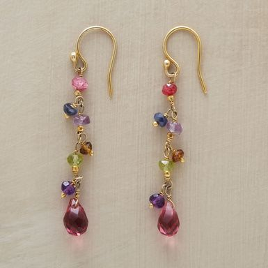"Petite danglers of 22kt gold vermeil glow with ruby, iolite, amethyst, smoky quartz, peridot and pink crystal. Handmade. Exclusive. 1-7/8""L. 75.00"