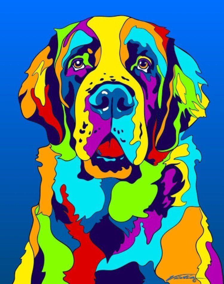 Multi-Color St. Bernard Dog Breed Matted Prints & Canvas Giclées | E ...