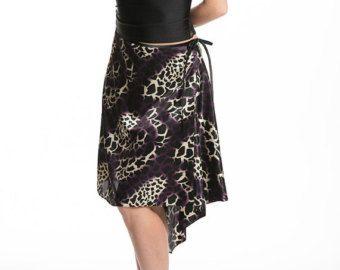 Tango danza falda, corte asimétrico, tela animal de la impresión, desgaste de la danza de tango, danza, trajes, damas de tango moda
