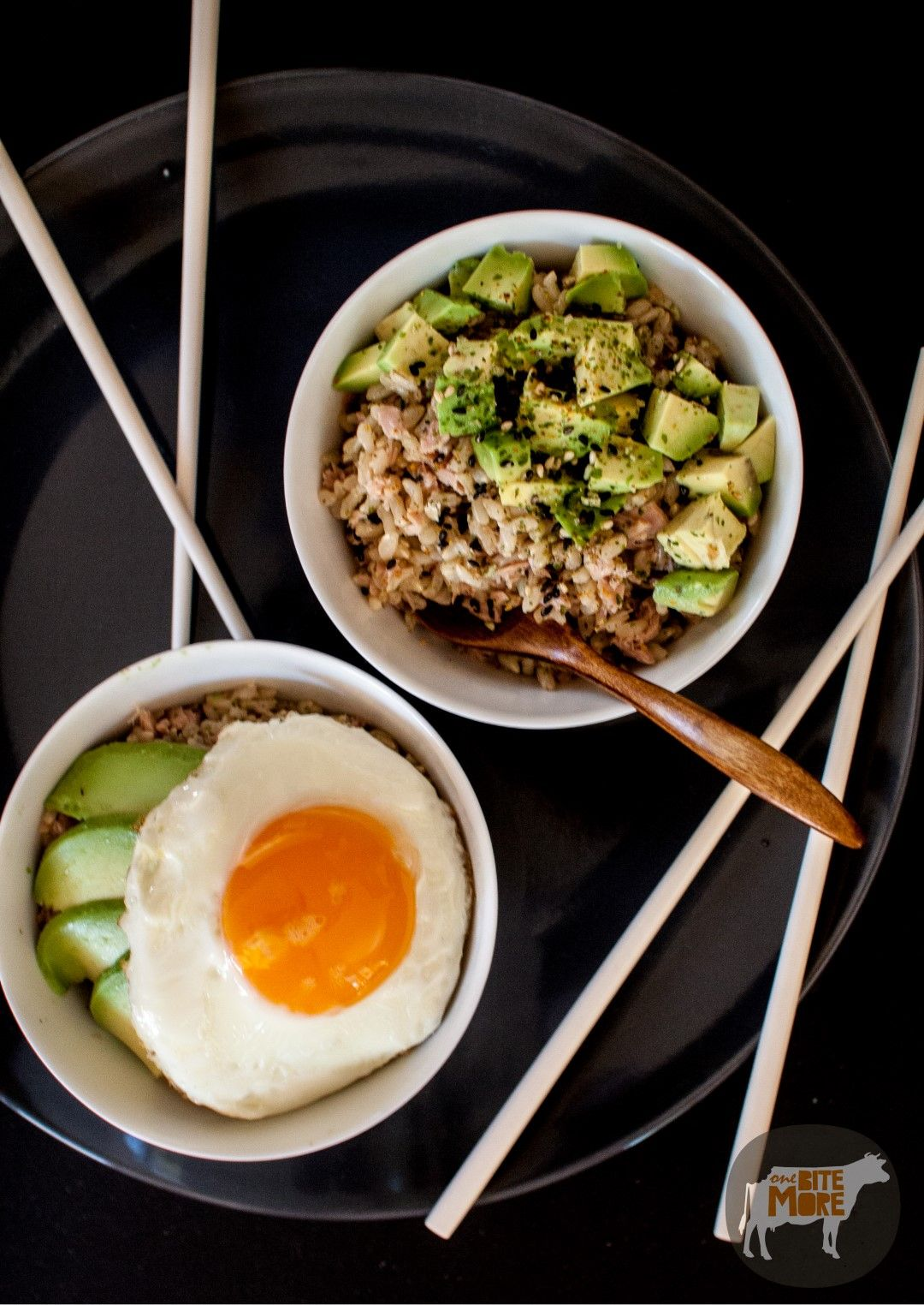 Tuna Avocado Egg Rice Bowl Brown rice, soy sauce, sesame oil, tuna, rice vinegar, eggs, avocado