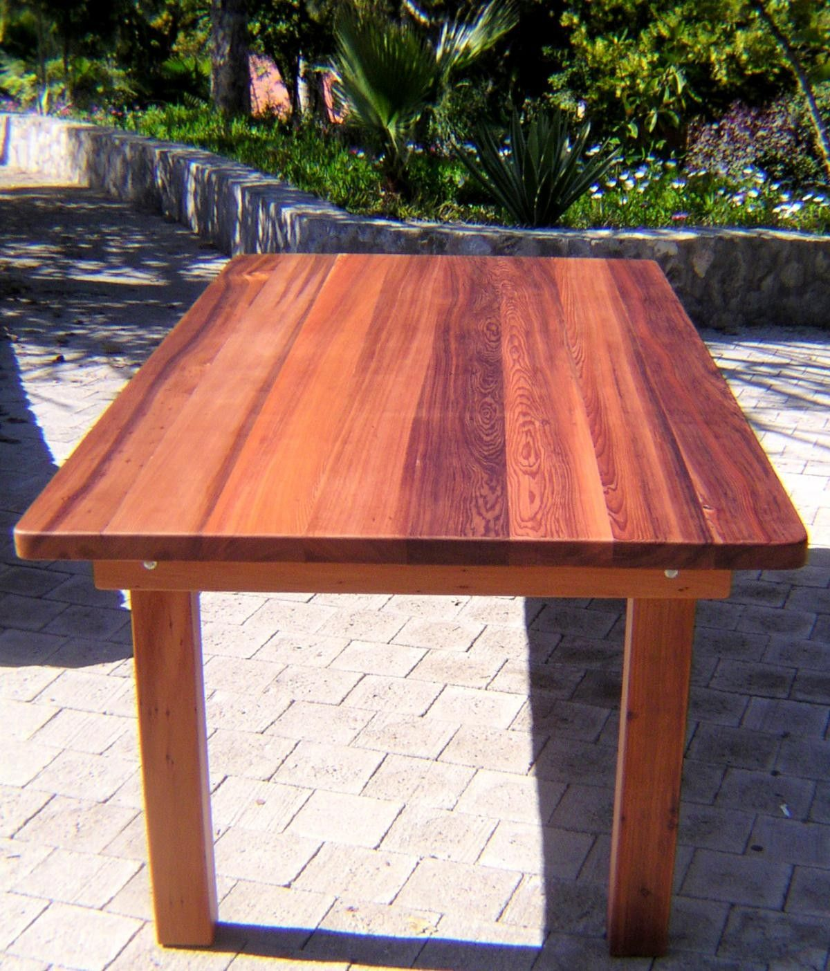 rectangular wood patio tables by forever redwood this comes with bench seating option