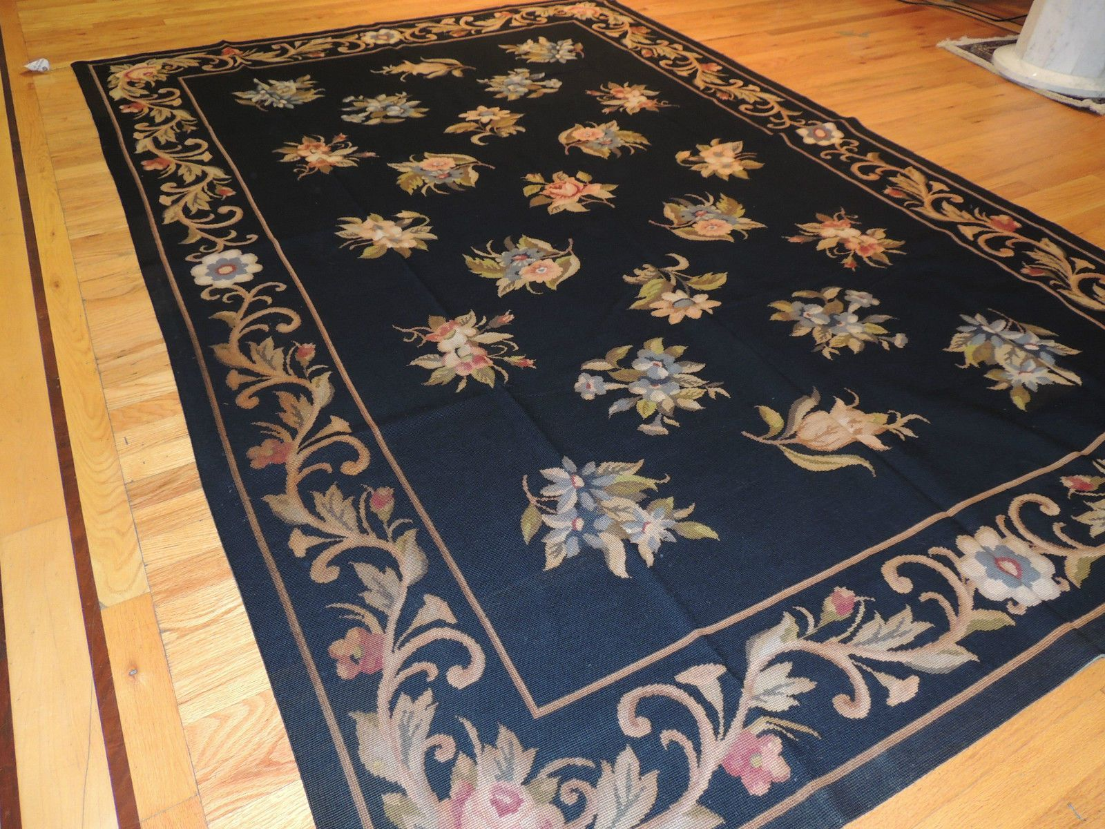 Splendid French Aubusson Design Needlepoint Oriental Area Rug Carpet 6x9 Black