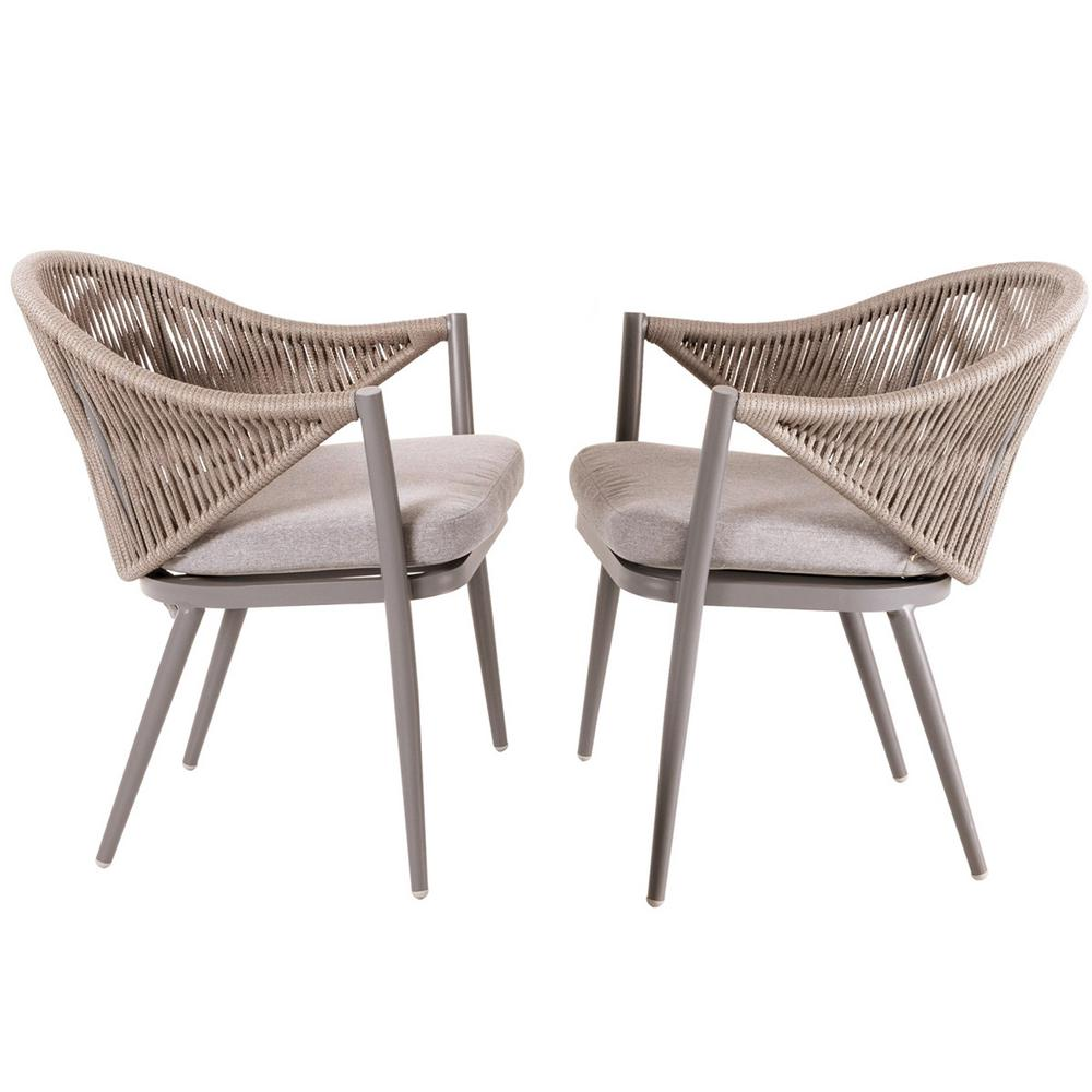 Nuu Garden Stationary Aluminum Woven Rope Outdoor Dining Chair With Beige Cushions 2 Pack Dw101 Kf In 2020 Patio Dining Chairs Furniture Dining Chairs Dining Chairs