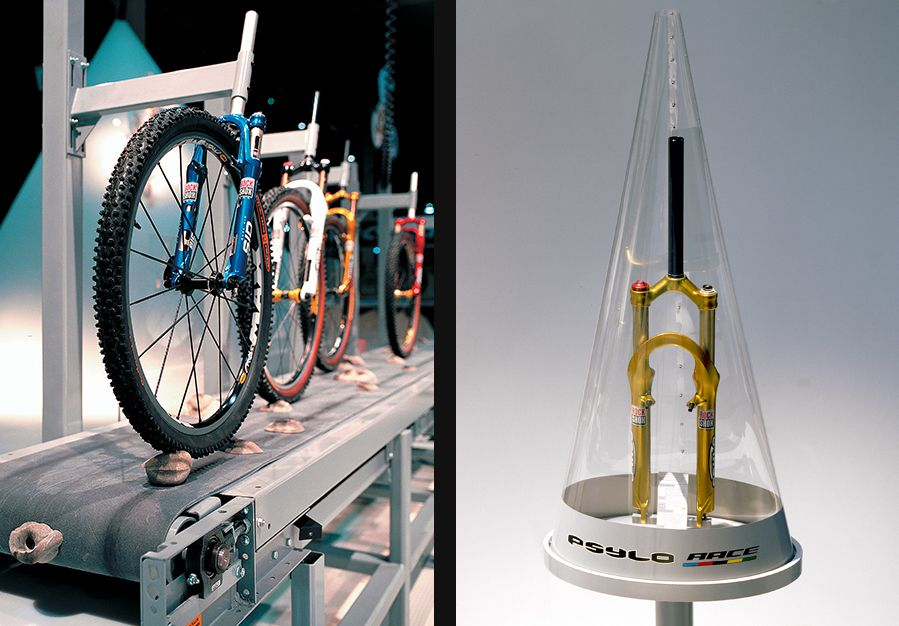 Raw. Edgy. Stark. This exhibit for bicycle suspensionfork manufacturer RockShox Inc. (now owned by Sram LLC) was a purist's dream. So it should come as no surprise that it was selected by Exhibit Design Awards judges as one of the best from the past three decades.