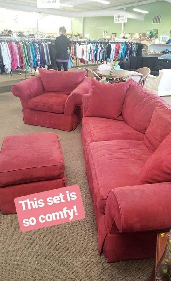 Cozy red couch and chair set @BethanysThriftStore ...