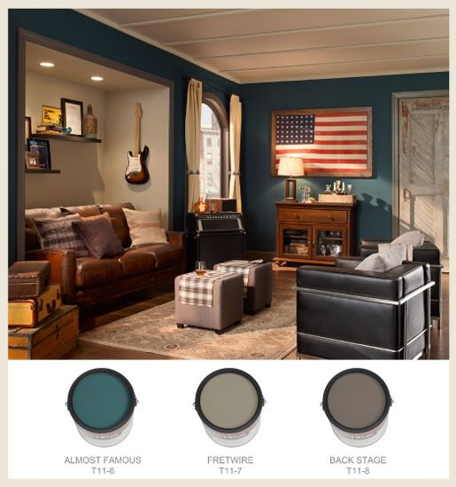 Man Cave Color Ideas : Moody grays and blues create a cozy feel in this warm