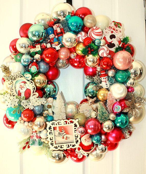 Sale Shiny Brite Wreath Vintage Ornament Wreath Glass Ball Wreath Kitschy Christmas Decor S Glass Ball Wreath Shiny Brite Ornaments Vintage Ornament Wreath