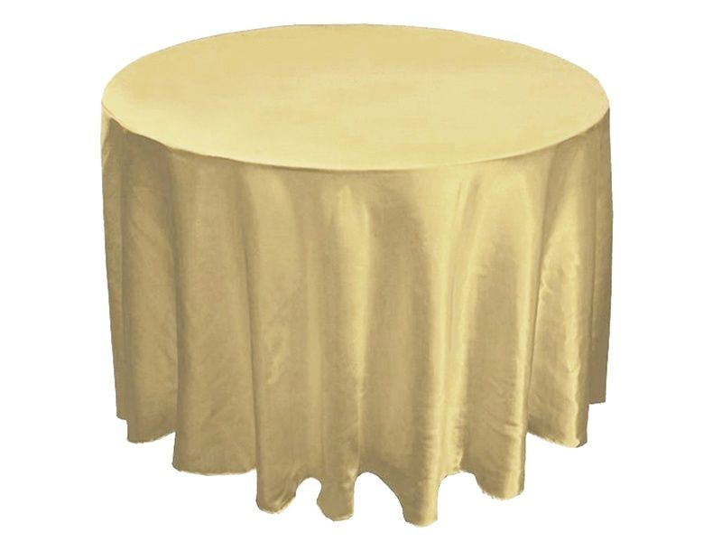 We Think That This Gorgeous Champagne 90 Inch Satin Round Tablecloth Also  Makes A Great Fall