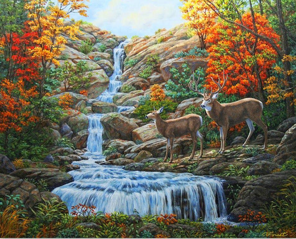 Paisajes De Animales: Pinturas-oleo-paisajes-con-cascadas-y-animales