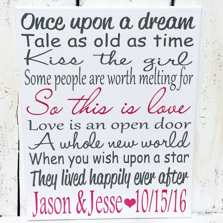 Disney Wedding Quotes Disney Wedding Song Sign Home Decor Art Print Canvas  Canvases