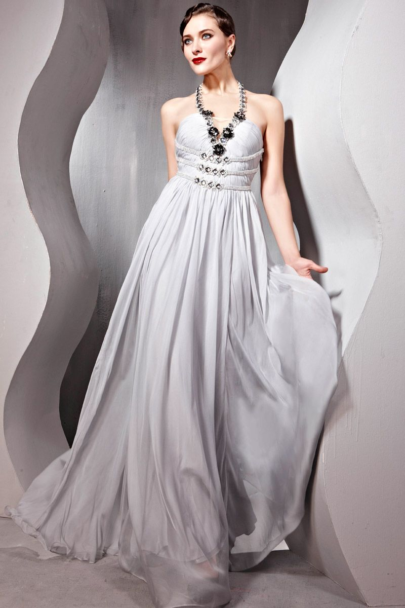 Elegant halter chiffon gray evening dress with beading designed
