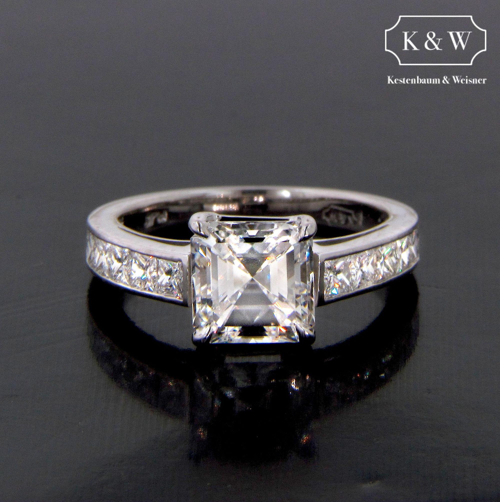 Chic #AsscherCut ring with Channel Set #EternityBand #engagementrings #kwdiamonds