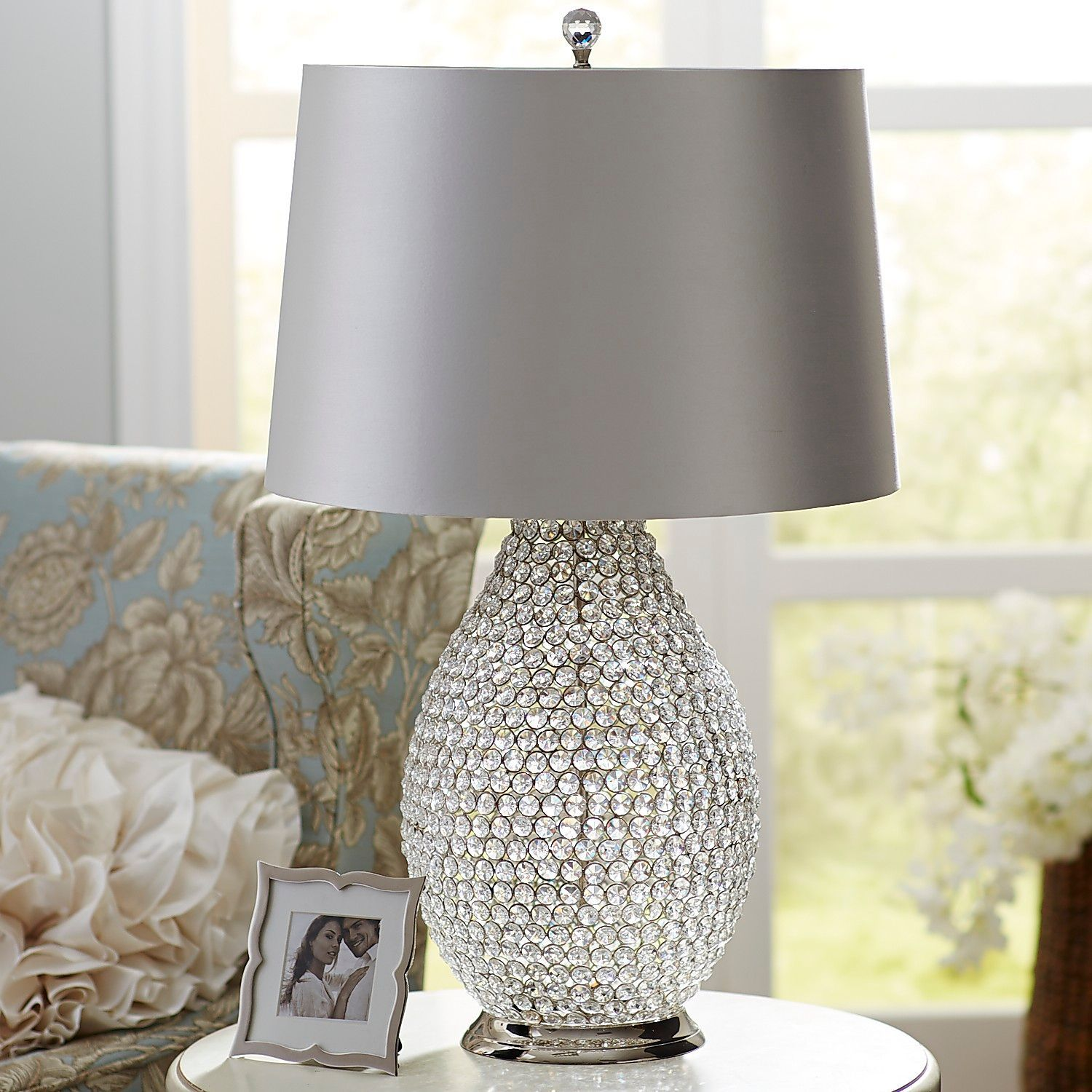White Crystal Bead Table Lamp Beaded Lamps Lamp Table Lamp