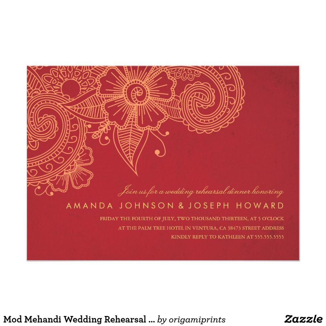 Mod Mehandi Wedding Rehearsal Dinner Invite Elegant henna inspired ...