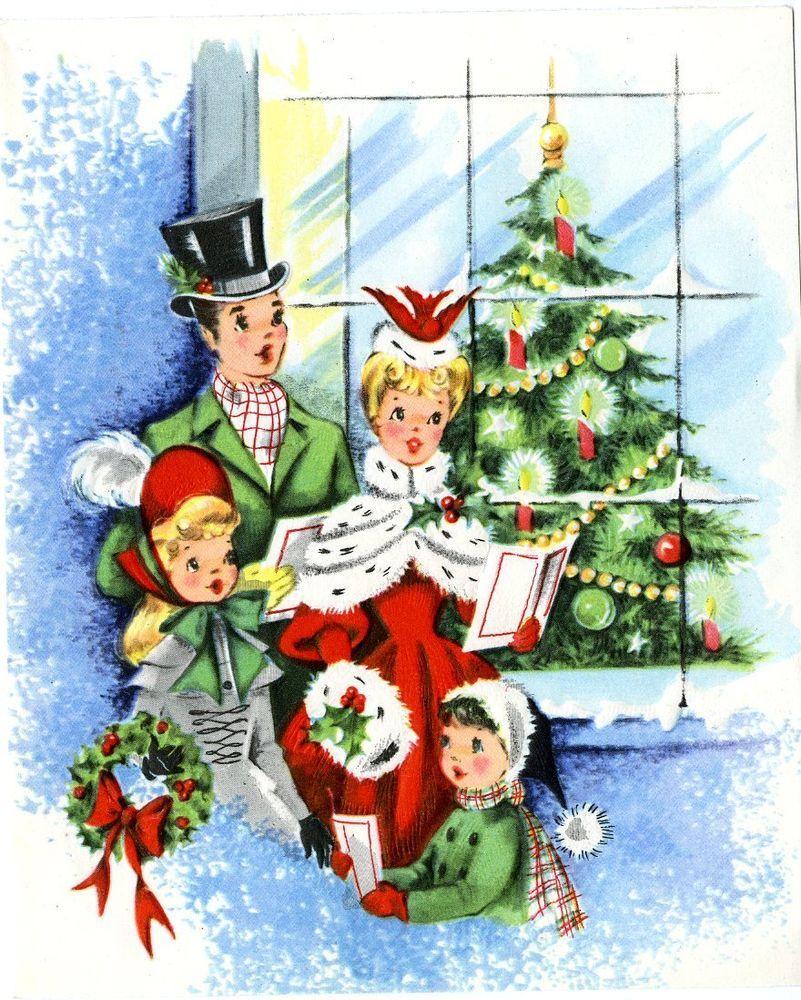 Vtg Christmas Card Victorian Carolers Pretty Girls