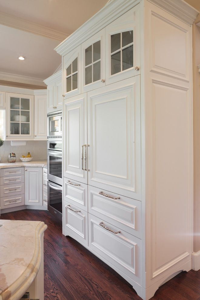 Sub Zero Refrigerator Built In Kitchen Traditional With Gl Door Raised Panel Stone White Cabinet