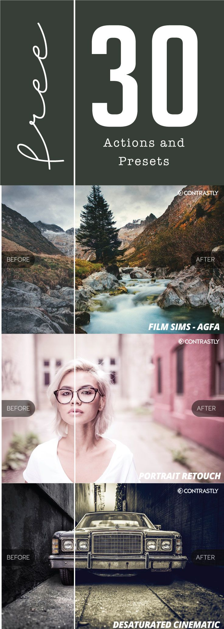 30 FreeActions and Presets from Contrastly Contrastly has packaged together 30 free actions and presetsfrom their premium packages into one amazing sample download exclusively for their email subscribers. This package includes 25 of their premium Lightroom presets and 5 Photoshop actions to give you a preview of the best of what Contrastly has to offer....Read More »