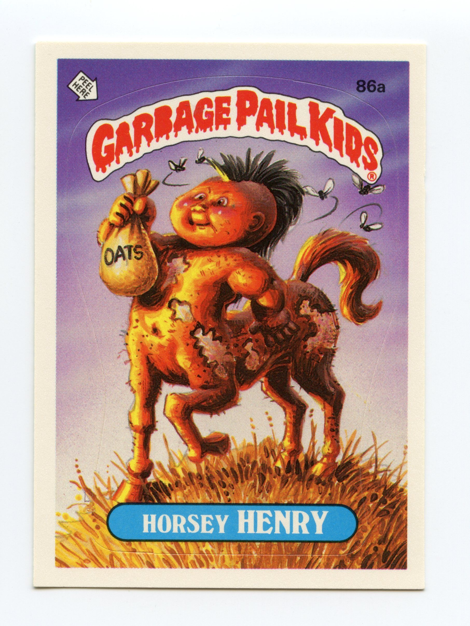 3rd Series 86a Horsey Henry 1986 Checklist On Back Garbage Pail Kids Garbage Pail Kids Cards Kids Stickers