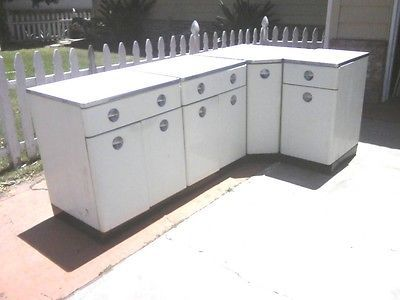 Vintage HomArt Metal Kitchen Cabinets Pcs EBay Good For Ya - Metal kitchen sink cabinet unit