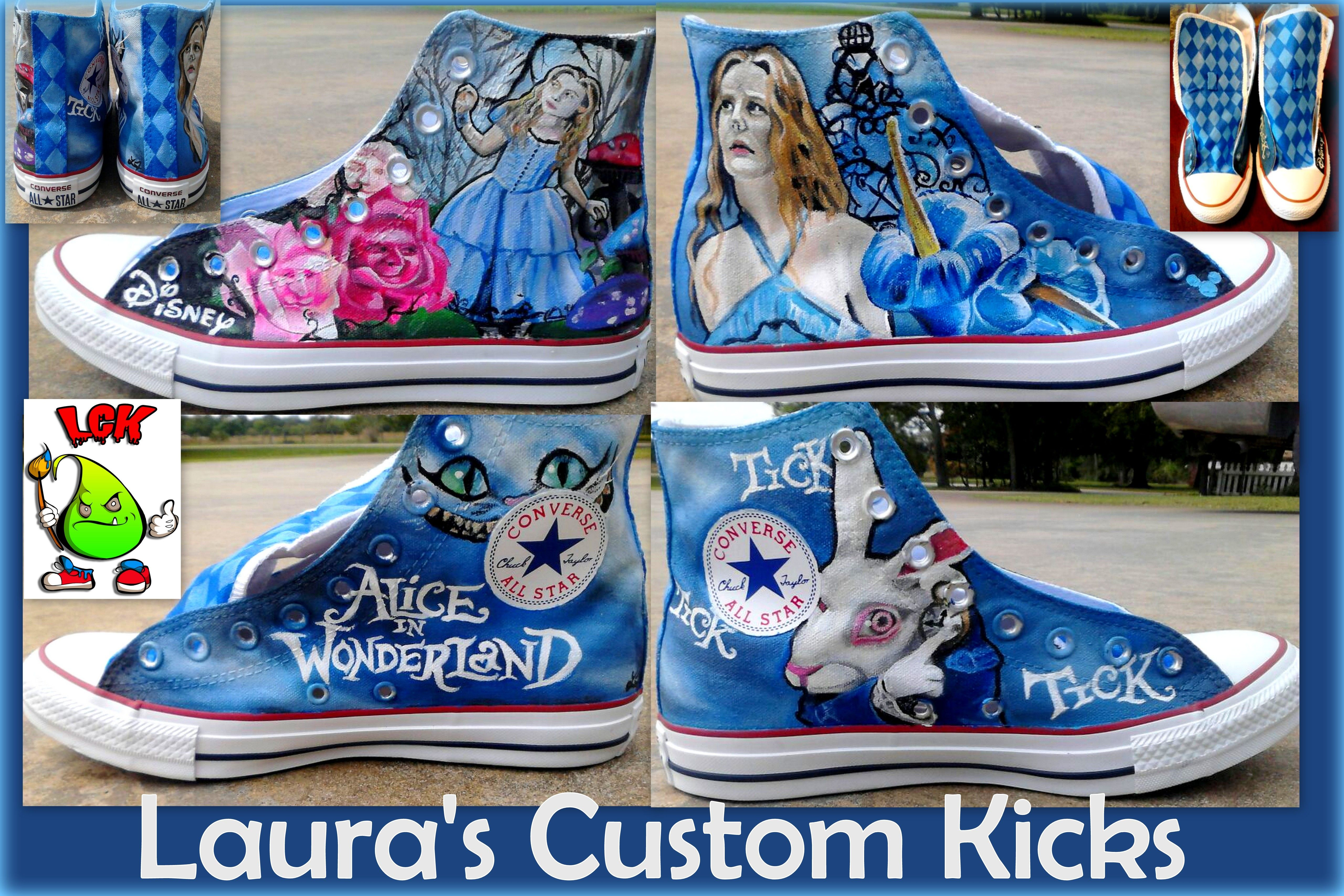 bac3c185a69d ... converse ltd 59e64 808bb norway custom disney alice in wonderland tim  burton shoes with alice cheshire cat rabbit and flowers ...