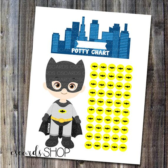 Batman Superhero Boy Potty Chart 50 Sticker Places By CScardsShop