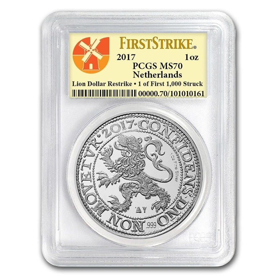 2017 Netherlands Lion Dollar Restrike 1 oz .999 Silver PCGS MS-70 FS Coin