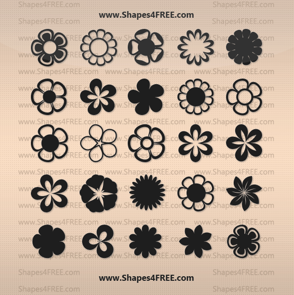 Look What I Found Flowers Vector Shapes Photoshop Shapes Free Photoshop Banner Shapes
