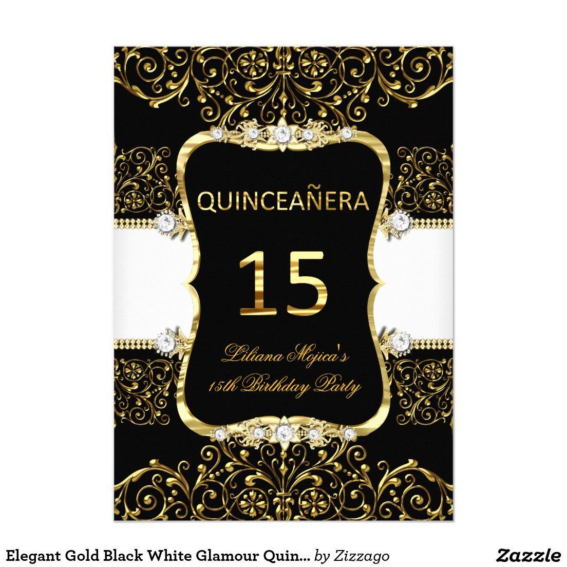 2a94e7e28b Elegant Gold Black White Glamour Quinceanera Invitation