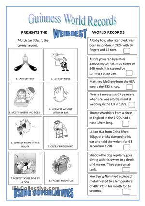 world records superlatives comparativos y superlativos pinterest worksheets printable. Black Bedroom Furniture Sets. Home Design Ideas