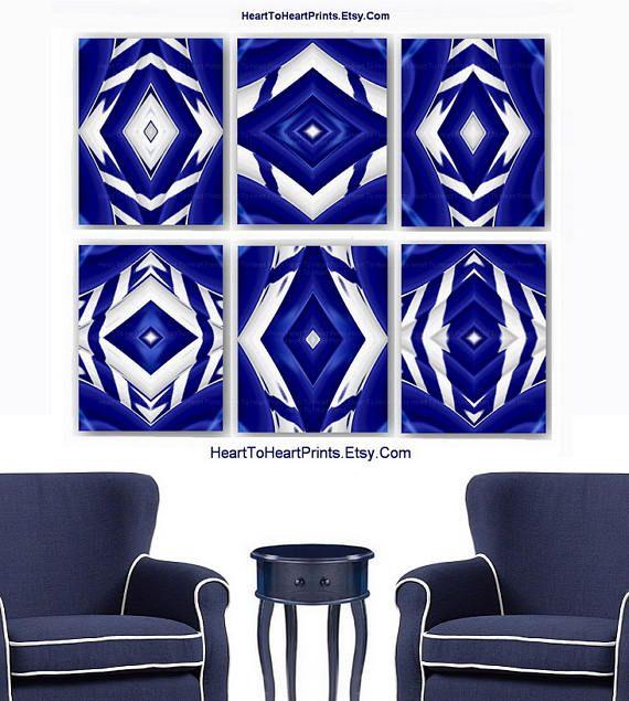 Navy Cobalt Blue White Home Decor Navy White Ikat Wall Art Abstract ...