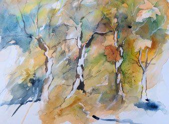 Aquarellbild Herbstwald Aquarellieren Birken Blatter Herbst