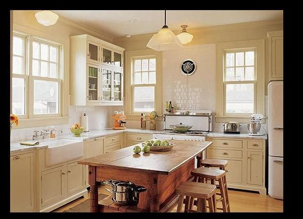 cream kitchen white appliances - Kitchen Remodel With White Appliances