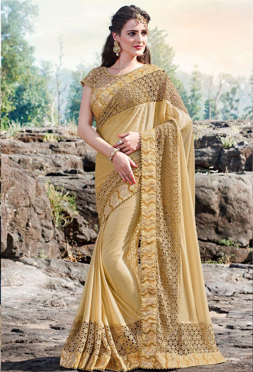 d74a1143cd #Gold #Lycra #Party #Wear #Designer #Saree #nikvik #usa #designer  #australia #canada #yellowsarees
