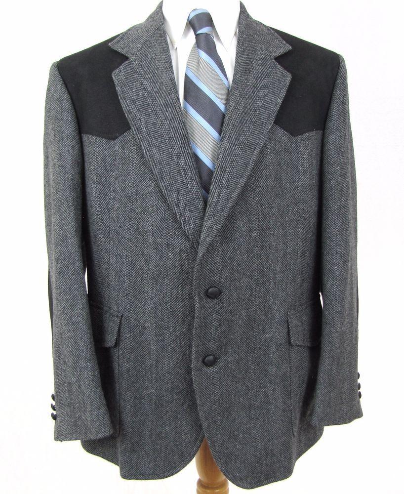 Pendleton Western Sport Coat 46R Tweed Leather Elbow Patch
