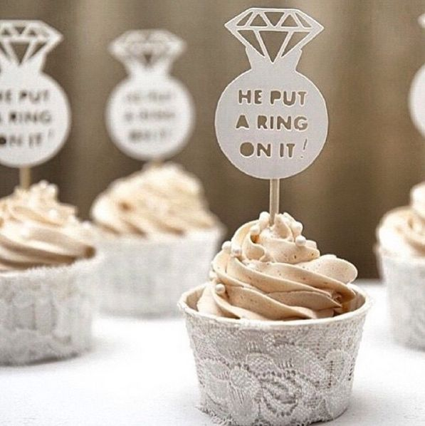 He Put A Ring On It Cupcake Toppers