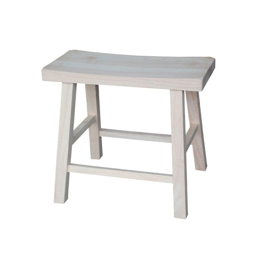 International Concepts 18 In Unfinished Wood Bar Stool 1s 681 The Home Depot Wood Bar Stools Wood Bar Dining Stools