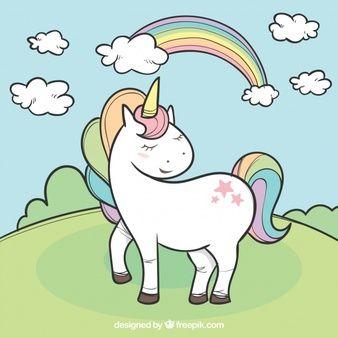 Coleccion De Unicornios Dibujados A Mano Con Elemenos Arte De