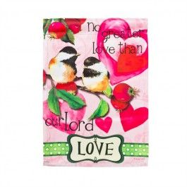 """Love"" Printed Suede Seasonal Garden Flag; Polyester 12.5""x18"" #flagsaflying #valentinesday #v-day #gardenflag #banner"