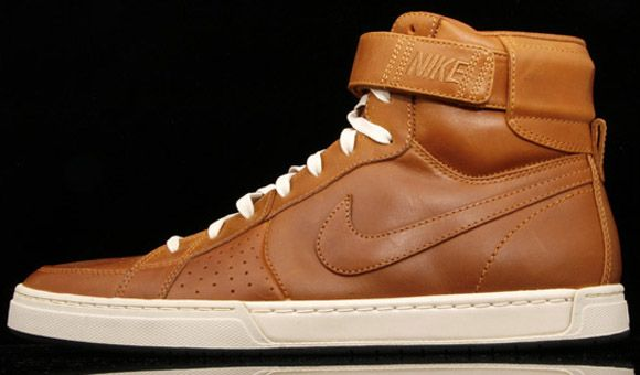 brown leather nike high tops