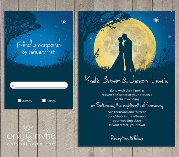 Printed Starry Night Wedding Invitations And Wishing Well Etsy Starry Night Wedding Starry Night Wedding Theme Wedding Night
