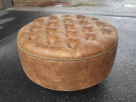 Distressed Vegan Leather Tufted Upholstered Ottoman Footstool