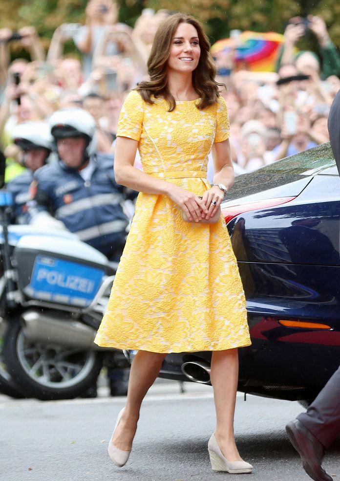 Kate Middleton Wears Yellow Jenny Packham Dress Instyle