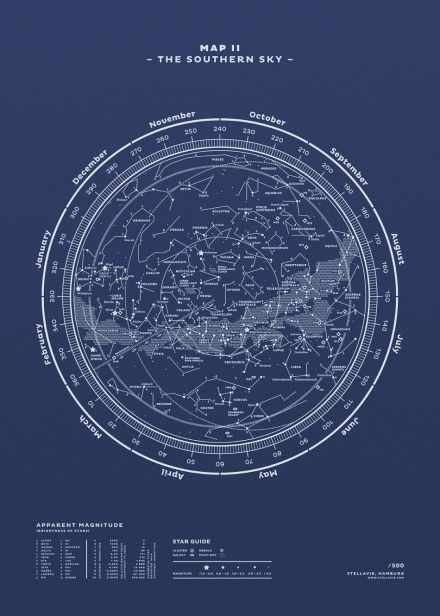 Map II The Southern Sky (Night-Blue)